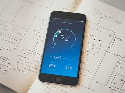 Exploring Smart Thermostat Controls graph dial thermostat temperature weather dashboard data ios