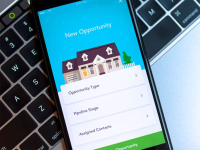Mobile CRM - Create an Opportunity real estate house illustration ux ui step interface crm ios app