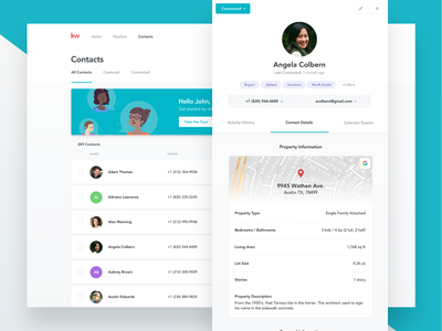 CRM - Contact Profiles interface real estate database crm map profile clean ux ui