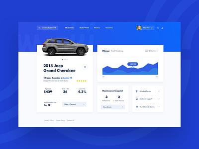 Customer Leasing Dashboard dashboard graph gallery automotive cars ios mobile ux ui