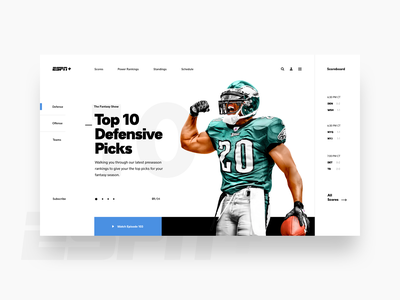 Fantasy Landing Page football grid clean editorial layout ui