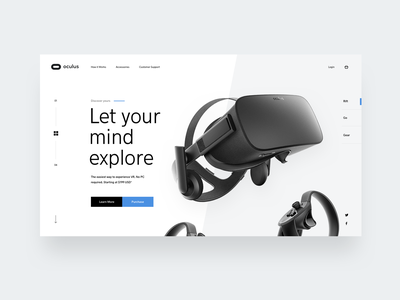 Oculus Exploration design web clean mockup layout ui