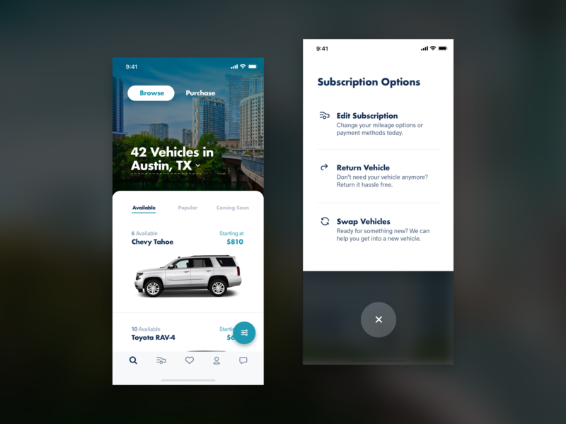 Automotive Browse Experience browse filters interaction pushdown cards cars ios ui