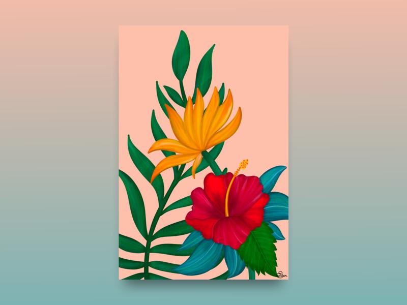Hibiscus Illustration tropical handmade leaf leaves flowers illustration flowers graphic design summer flower illustration ipadpro procreate artwork illustration art digital illustration illustration digital art