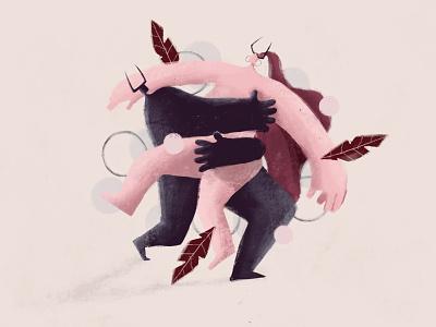we're all devils hell sins horns couple devil illustration