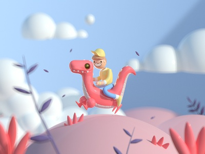 Dino´s Time cartoon animals cinema4d character design riding 3d artist 2d 3d art 90s character animal 3d dinosaur dino