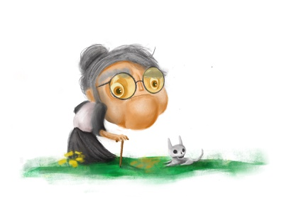 Granny & Dog character design animals cartoon character animal illustration granny