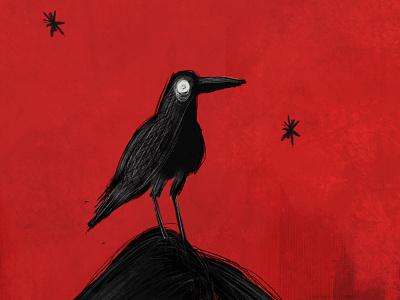 Raven creepy grunge ravenclaw bird terror gothic raven cartoon character design illustration animal