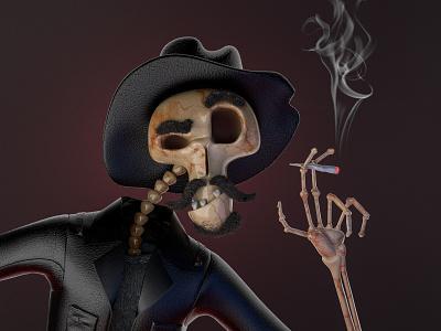 Old Cowboy death life smoke cowboy skeleton skull old character design character illustration