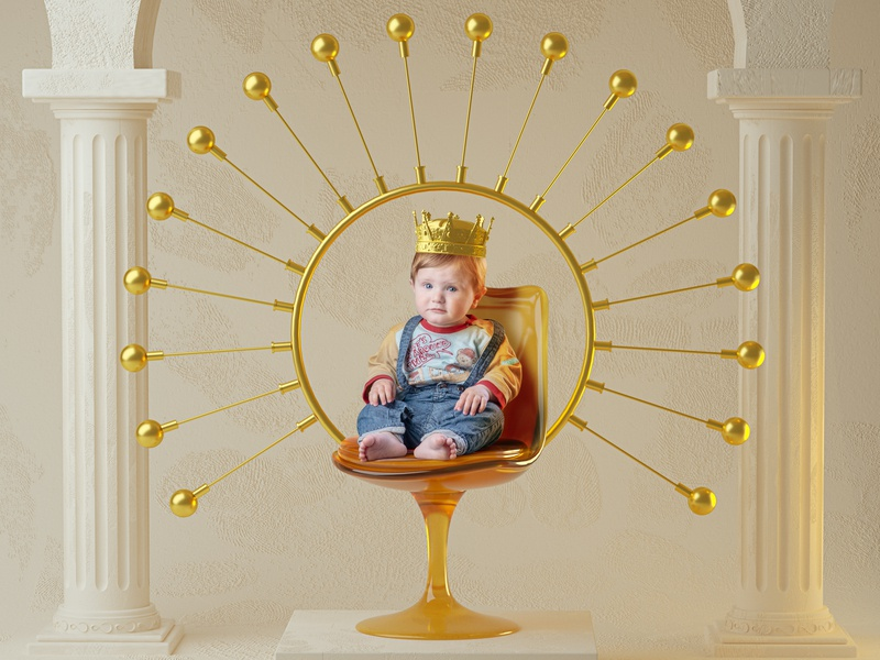 King in the north crown king photography classic columns baby game of thrones throne chair 3d photo got