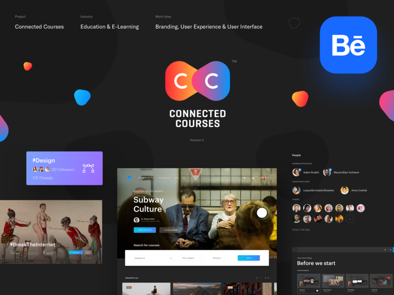 Connected Courses — Behance catalogue dark ux ui social learning desktop iniversity learning platform library courses elearning