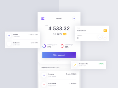 Crypto wallet blue and white subtle finance fintech app mobile ux ui ui ux crypto currency crypto wallet crypto