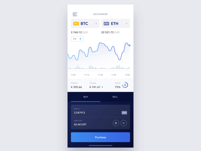 Cryptocurrency Exchange Interaction app animation user interface application app mobile clean graph blue and white blue crypto trading currency exchange financial fintech cryptocurrency crypto