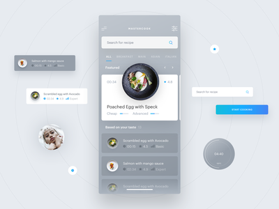 Recipes application interface blue quisine recipes food app food cooking ux ui mobile