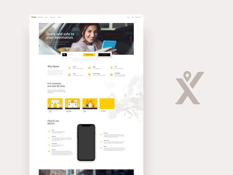 Passenger yellow corporate taxi ux fireart studio fireart user interface ui website mytaxi
