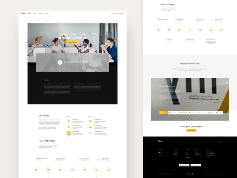 Careers mytaxi website ui user interface fireart fireart studio ux taxi corporate yellow