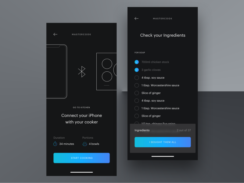 Recipe Setup mobile ui ux cooking food food app recipes quisine blue interface application