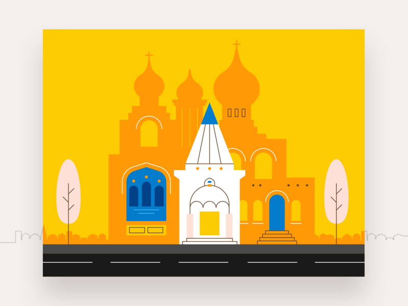 St Nicholas Russian Orthodox Cathedral church illustration mytaxi fireart fireart studio city orange yellow building architecture flat