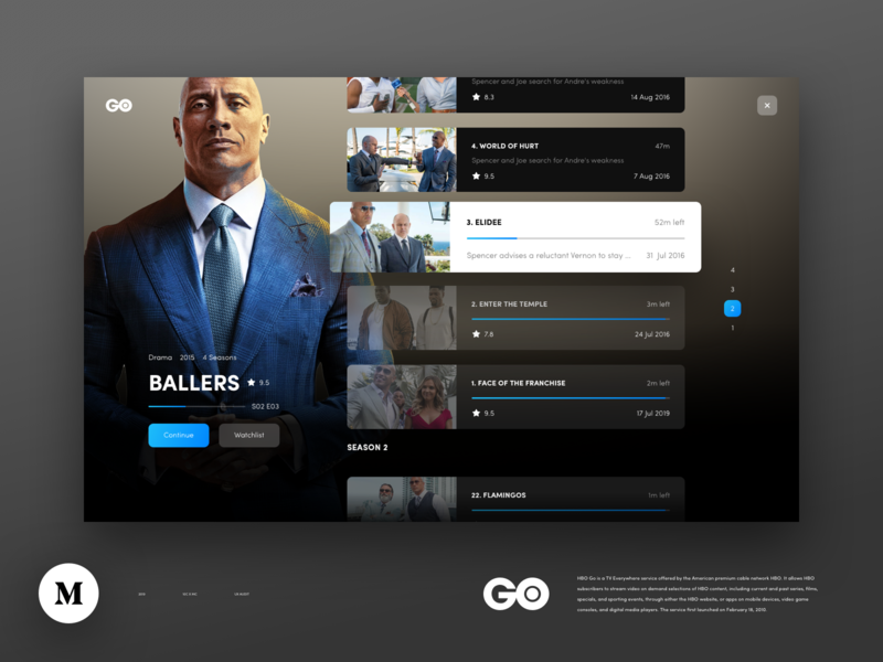 Episodes 10clouds blue dark redesign ux audit details page tv series playlist episodes hbo go hbo vod film movies player video ux ui