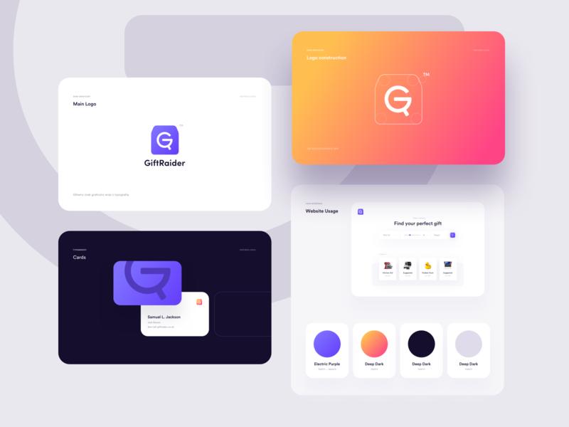 Gift Raider purple vivid app logo present gift mobile app brand searching gifts branding brand logo