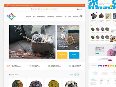 Jimmy Beans Website Design web design shop playful grid layout yarn ecommerce ui ux webdesign