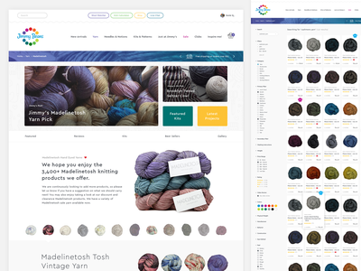 Jimmy Beans Website Design Continued shop gradient visual design yarn product web design grid layout grid ecommerce