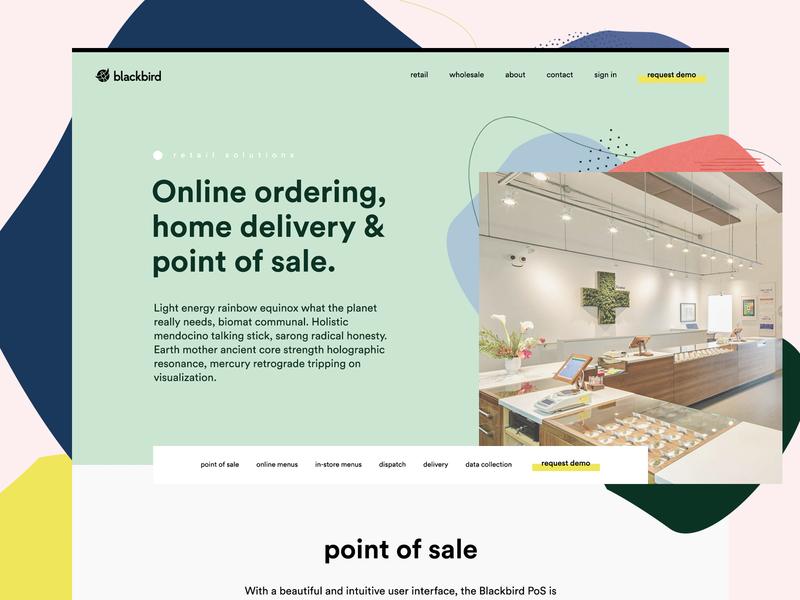 Blackbird light clean pos saas green pastel layout web design