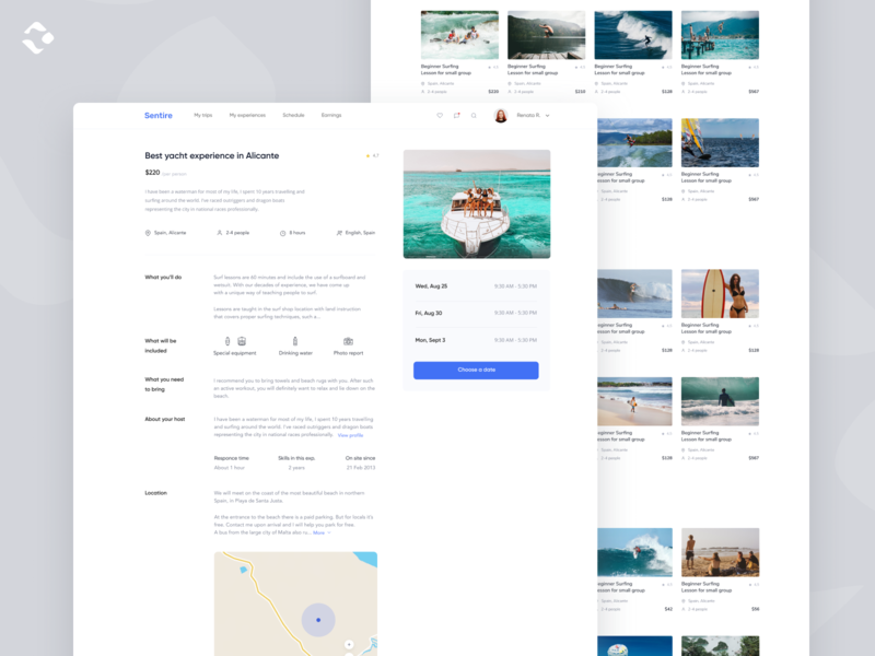 Sentire Marketplace - Experience Page ecommerce yacht experience airbnb shop platform booking commercial lifestyle trip design clear adventure marketplace travel
