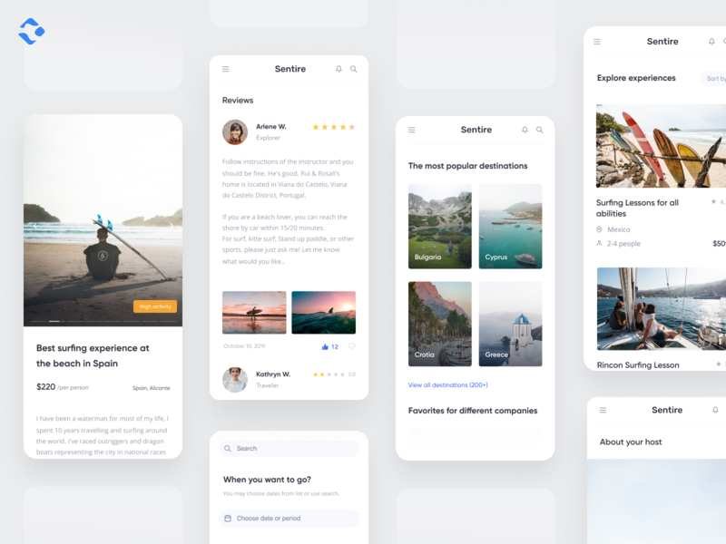 Experience Marketplace - Mobile app destinations review mobile airbnb shop platform booking commercial lifestyle trip design clear adventure marketplace travel