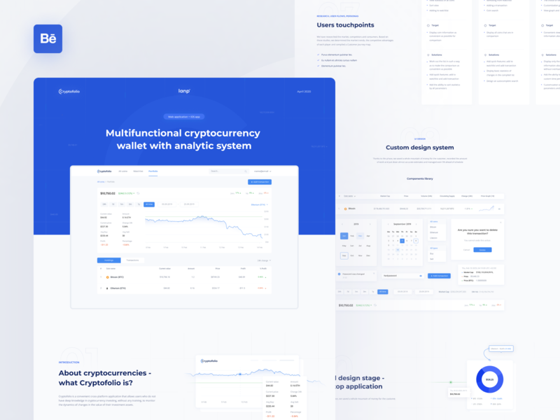 Cryptofolio - Behance case timeline development figma interface interactions case behance research dashboad casestudy ux ui bitcoin etherium wallet coin portfolio exchange app cryptocurrency