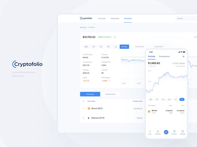 Cryrtocurrency wallet - Portfolio page crypto wallet uiux ui timeline statistic portfolio ios holdings exchange ethereum dashboad cryptocurrency bitcoins clean chart bitcoin app