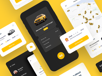 Vego - Сar sharing App car share car sharing deign ux clean app car booking bill map rent navigation product card mobile ui location