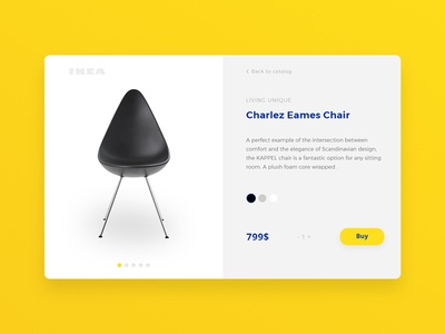 IKEA product card concept yellow chair item creative concept product shop card ui daily ikea design