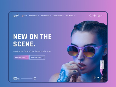 Website Concept for Eyewear Fashion Brand style glasses fashion website 2020 trend design flat hero concept sunglasses eyewear