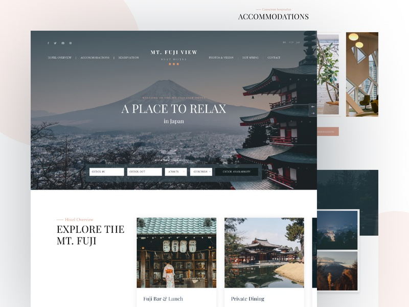 Mt. Fuji Luxury Hotel website adventure ui website web uiux resort mtfuji luxury hotel japanese hotel hot spring hotel homepage fuji flat design flat designs design concept