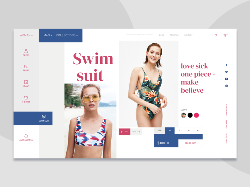 Swimsuit Product Page Impression designer figmadesign shopping product food order adventure flat design designs ux figma uiux homepage web ui concept website flat design