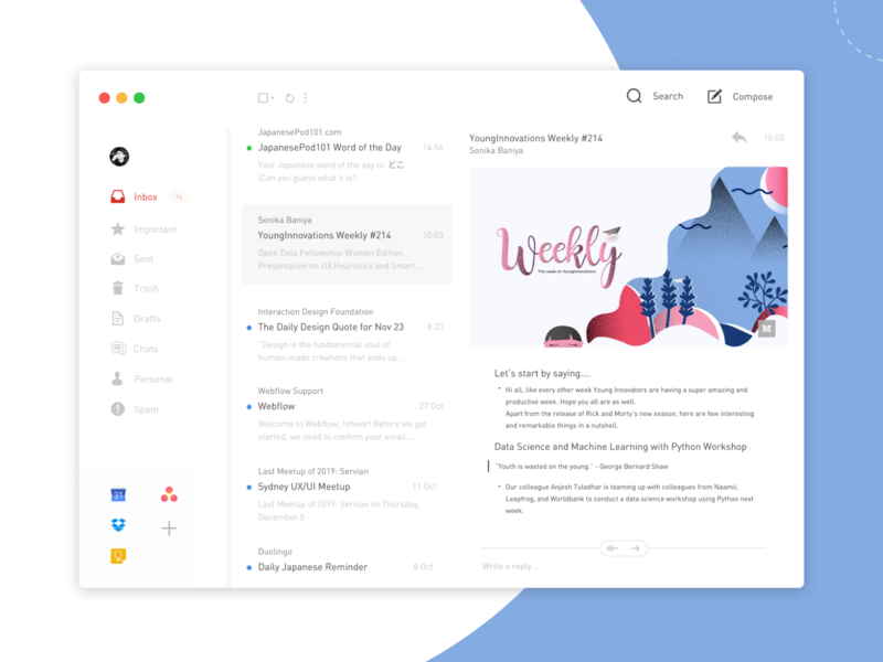 Gmail App Redesign 1/2 ui concept flat design application google redesign mail gmail gmailapp
