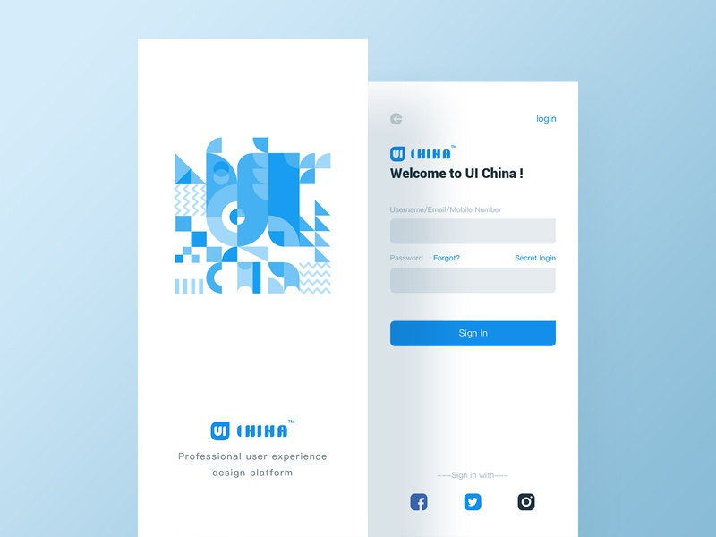 UI China - Login page and launch page geometry startup page login page graphics font design design logo ui app