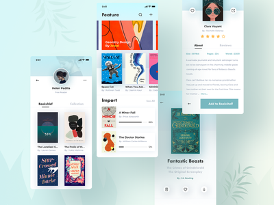 Book Read Concept Design simple clean interface simple freen import pdf ebook reader book