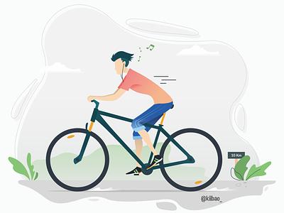 Cycling Illustration flat vector illustration