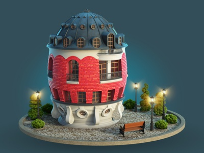 Egg House illustration house faberge icon cinema 4d modo 3d moscow architecture egg