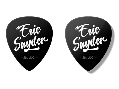 Eric Snyder Logo script font photoshop art black and white logo music teacher music school guitar pick logodesign logo branding