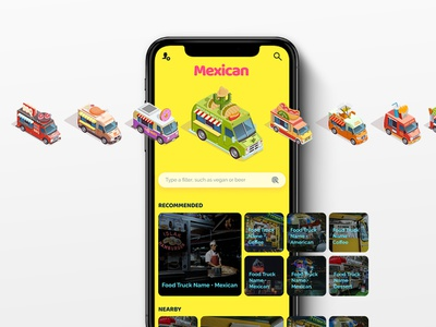 Mobile Food Application food app food truck isometric illustration illustration figma app design branding design ui design