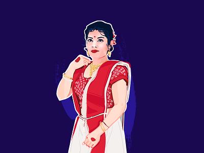 Indian Beauty_girl indian wedding flat design app vector character illustration ux ui illustration