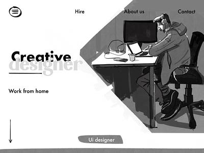 Work from home..... landing page design uxdesigner uidesigner webpage illustration