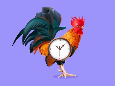 Rooster clock.. Illustration uidesigner rooster design clock illustration