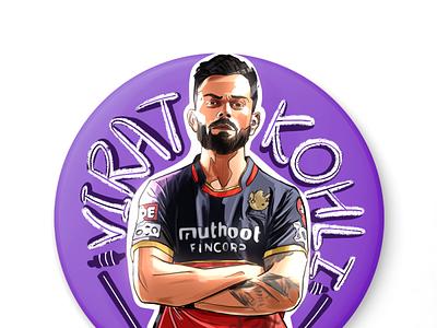 IPL Badge creative design icons virat kohli cricket branding icon 2d art flat design vector app character illustration ux ui illustration