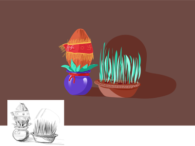 India_illustration _kalash plant indian culture coconut indian illustrator indian food indian design 2d art ui vector character illustration ux ui illustration
