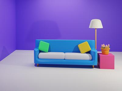 3d Interior illustration 3d scene design sofa 3d 3d artist character illustration ux ui illustration