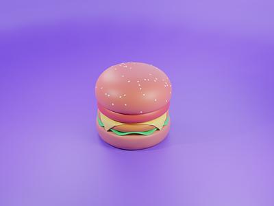 3d Burger_Food 3d artist blender 3d 3d art burger king illustrator blender3d fastfood burgers 3d burger illustration ux ui design illustration